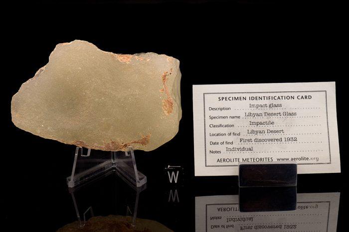 Libyan Desert Glass 180.6 grams with specimen id card