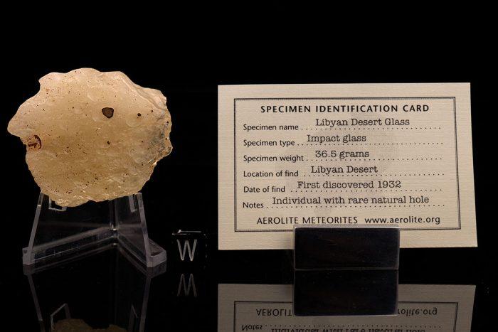 Libyan Desert Glass 36.5 Grams with specimen id card